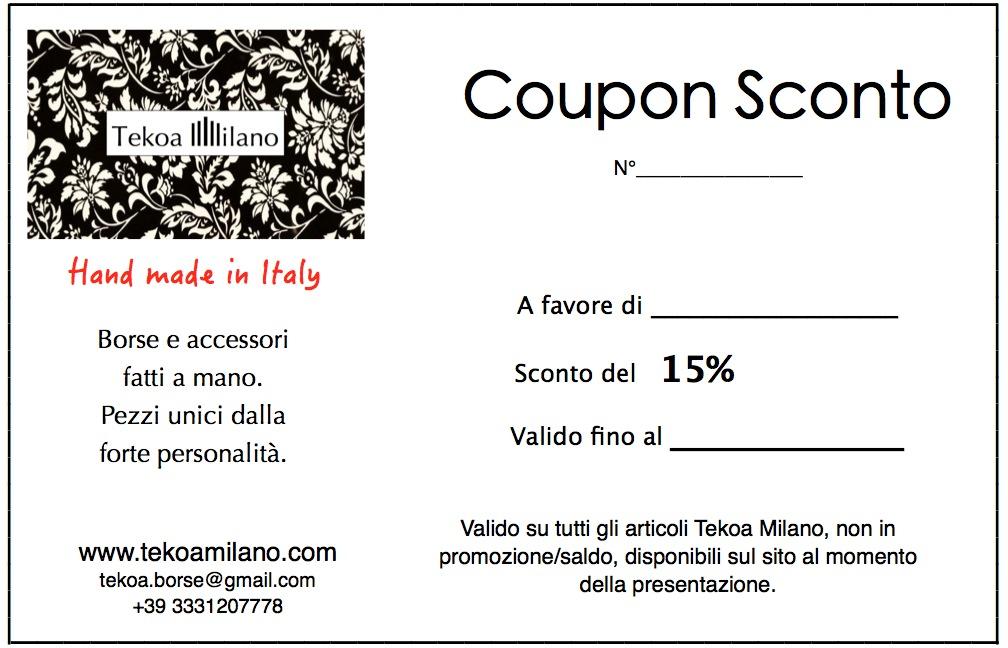 coupon sconto Tekoa Milano